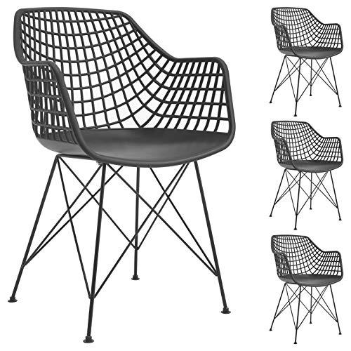 IDIMEX Esszimmerstuhl Alicante im Retro Design, Stühle Küchenstuhl Essstühle Armlehnstuhl, im 4er Set, Kunststoff in schwarz