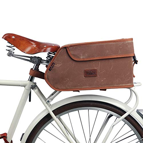 TOURBON Canvas Bicycle Pannier Bike Rear Rack Insulated Trunk Cooler Bag