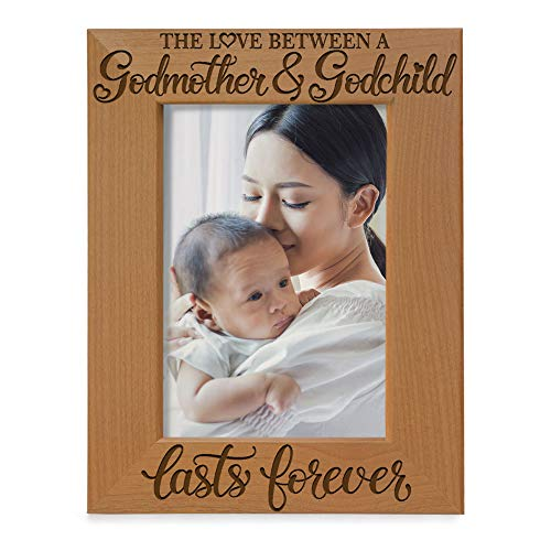 KATE POSH The Love Between a Godmother and Godchild is Forever. Baptism Gifts, Gifts from Goddaughter, from Godson on My Baptism Day. Engraved Natural Wood Picture Frame (5x7-Vertical)