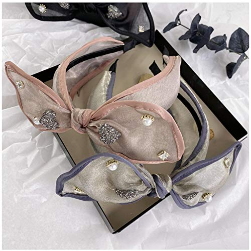 ASLKUYT Diademas de perlas de cristal de encaje de organza para mujeres accesorios para el cabello diadema coreana para niñas diademas para la cabeza 2 uds