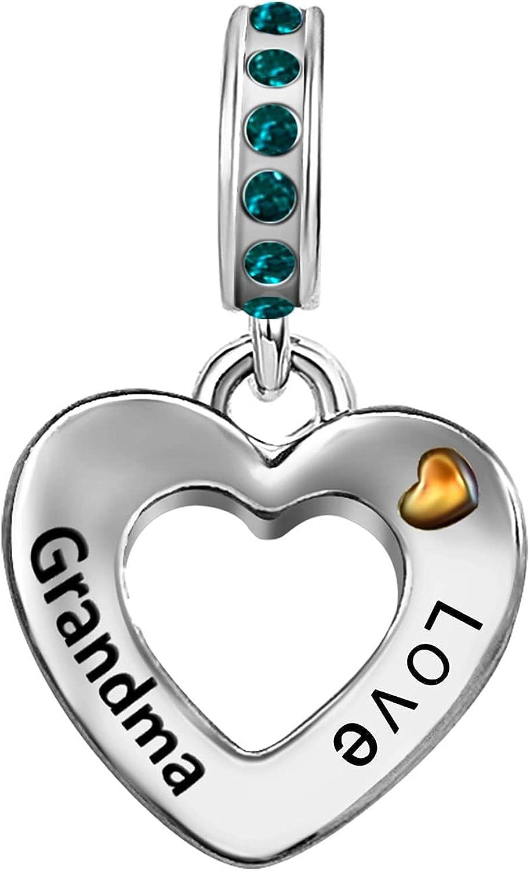 JMQJewelry Grandma Grandmother Thankful Heart Love Birthstone Charms for Bracelets Women Girls Jewelry Christmas Halloween Mother Jewelry