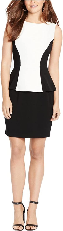 American Living Womens colorblocked Sheath Dress Creamblk 16