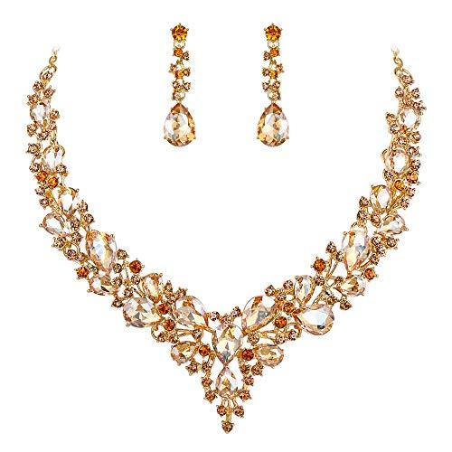 Clearine Damen Hochzeit Braut Österreichen Kristall Tropfen Cluster Statement Halskette Dangle Ohrringe Schmuck Set Champagner-Gelb Gold-Ton
