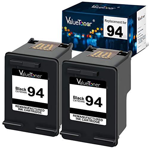 Valuetoner Remanufactured Ink Cartridge Replacement for HP 94 C9350FN C8765WN for Officejet 150 100 H470 9800 7310 7210, Deskjet 460, PSC 1610 2355 (Black, 2 Pack)