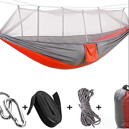 W.KING Dubbele campinghangmat met muggennet voor de ultralichte draagbare outdoor-anti-muggengaas ademend nylon parachute-karabijnhaak boom riem met 2 personen golf wandelen jacht
