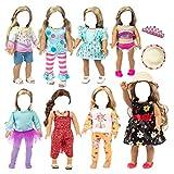 H.aetn Juego de Ropa de muñeca para muñecas de 18 Pulgadas, Accesorios de muñeca de Moda de 18 Pulgadas, Vestido de muñeca, Ropa Informal, niña (Juego de 8)