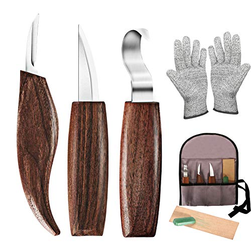 Wood Carving Tools, 7 in 1 Wood Carving Kit with Carving Hook Knife, Wood Whittling Knife, Chip Carving Knife, Gloves, Carving Knife Sharpener for Beginners Woodworking kit