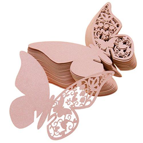 50pcs Schmetterling Platzkarte Tischkarten Namenskarte Hochzeit Party Deko Rosa