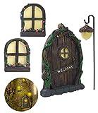 ZZICEN Fairy Door for Tree Decorations - Miniature Fairy Garden Accessories Outdoor Decor Kit Tree Stump Decor Gnome Door Set Garden Art Outdoor Clearance for Kids Window Glow in The Dark