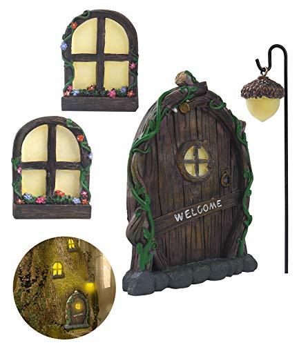 ZZICEN Fairy Door for Tree Decorations - Miniature Fairy Garden Accessories Outdoor Decor Kit Tree...