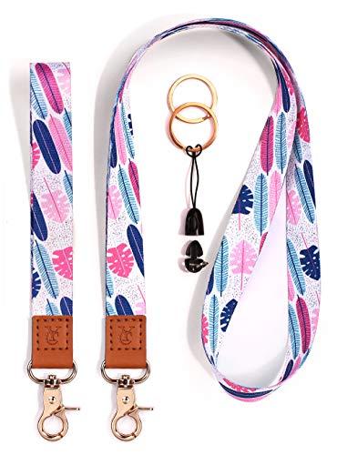 Cool Lanyards Key Chain Holder Wrist Lanyard Badge Holder Lanyard Key Chain Keyring Neck Straps Lanyard Premium Quality Wristlet Strap Cool Neck Lanyard (Pink Turtle Leaf)