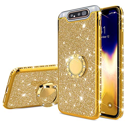 JAWSEU Siliconen Hoesje Glitter Ring Compatibel met Samsung Galaxy A80/A90 Bling Gold