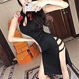 XKMY Vestido chino para mujer china tradicional Qipao vestido de seda de satén de verano Cheongsam estampado de flores vestido de novia vintage delgado vestido chino (color: color1, tamaño: M)