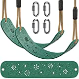 BeneLabel 2 Pack Heavy Duty Swing Seat with Carabiners, Playground Swing Set Accessories Replacement, Adjustable Rope, Longest 6.7ft, Shortest 4.2ft, Seat Width 27.2', 600LB Weight Limit, Green