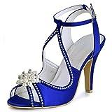 ElegantPark EP11058 Mujer Peep Toe la Tacón de Aguja Perla Rhinestone Satén Zapatos de Fiesta Boda Sandalias Azul 38