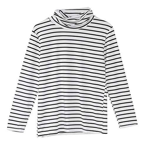 ruiruiNIE 2018 Neue gestreifte Langarm-T-Shirts Mode koreanische Art-Frauen lösen T-Shirt - Weiß-M