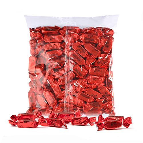 Color Themed Chewy Taffy Candy - 1-Pound Bag of Red Color Foil Candies Individually Wrapped Cherry Fruit Flavored Candy (Kosher, NET WT 454g, About 63 Pieces)