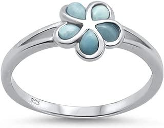Blue Apple Co. Plumeria Ring Split Shank Simulated Larimar 925 Sterling Silver Flower