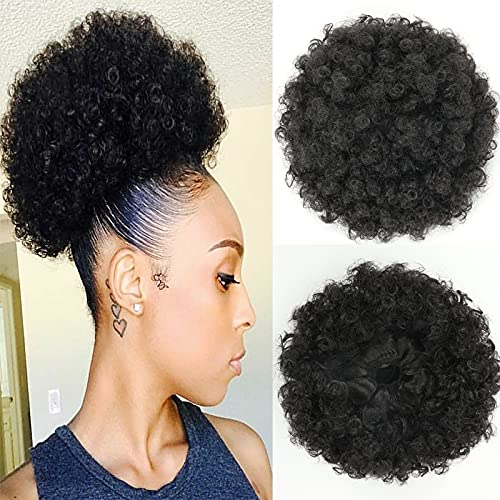 THEMIS HAIR Afro Puff Drawstring Ponytail For Black Women, High Puff Drawstring Short Ponytail Bun For Short Natural Hair, Afro Kinky Curly Ponytail Hairpieces With Clip In Color 1B