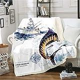 "Erosebridal Marlin Swordfish Blanket Throw Fishing Boat Tie Dye Fleece Blanket Nautical Compass Sherpa Blanket Foe Kids Boys Girls Sea Fishing Theme Fuzzy Blanket Queen 90""x90"" Blue Brown White"