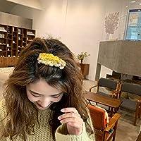 ZALAネット赤いヘアピン韓国ヘアピン女の子ヘッドドレスヘアアクセサリーシンプルなトップクリップエッジクリップイン前髪クリップスーパー妖精 (Yellow-brown)