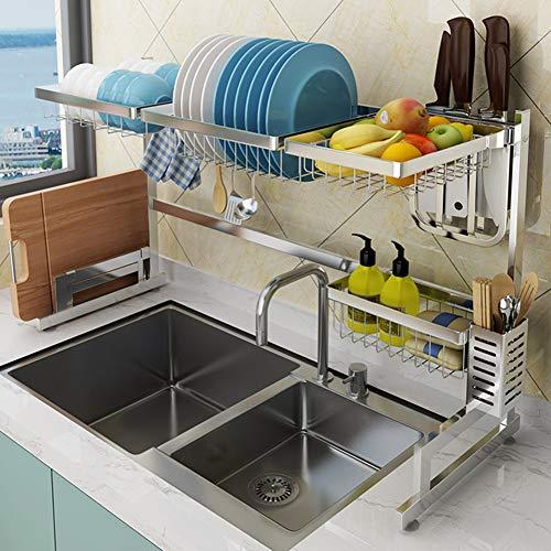 Love House Over The Sink Dish Rack,escurridor De Platos Acero Inoxidable Plato Tendedero para Kitchen Sink Organizer Artículos De Cocina Estante De Almacenamiento-Silver Single Tier 65cm(26inch)