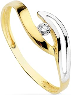 18K Gold Ring Bicolor 2mm Wide. Zirconia Smooth Bands Openwork First Communion Girl