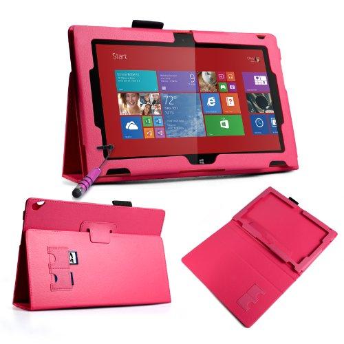 Yousave Accessories Kompatibel Für Nokia Lumia 2520 Tasche Dunkelrosa PU Leder Standplatz Hülle Mit Mini Griffel Stift