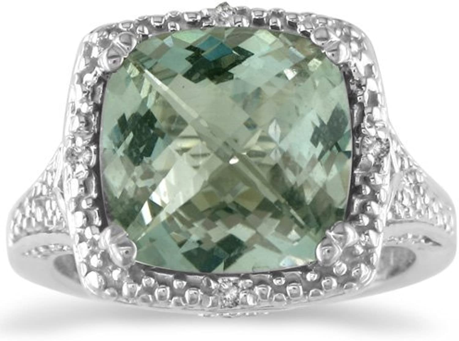 4ct Green Amethyst and Diamond Ring set inSterling Silver, Available Ring Siz...