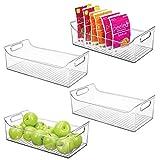 mDesign Juego de 4 cajas para nevera con asas – Organizador de frigorífico largo para almacenar alimentos – Contenedor transparente de plástico para el armario de la cocina o la nevera – transparente