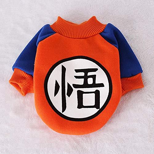 HPETN Kleine Hundehaustierkleidung Dragon Ball Goku Pullover T-Shirts Warme Kleidung Kostüm Hundekleidung Für Hunde Spiel Maskottchen Für Chihuahua@_S