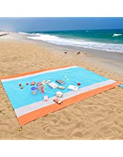WolfWise 270 x 210 cm XXL stranddeken, wasbare picknickdeken, campingdeken van zacht nylon, waterdicht, zandvrij, sneldrogend, met 4 palen draagbaar