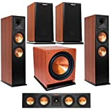 Klipsch 2 Pack Premiere RP-280FA Dolby Atmos Front Speaker, Cherry Vinyl - Bundle with RP-440C 2-Way Center Speaker Cherry, RP-150M Bookshelf Speaker,Pair Cherry, R-112SW 12in 600W Subwoofer, Cherry