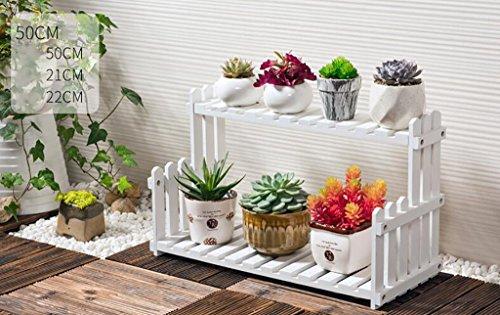 Porte Plante Présentoir de fleur de plantes en bois Support de tablette en bois Pot Atterrissage intérieur extérieur 2 couche Pots Holder (Blanc) Étagères à fleurs (taille : 50 cm)