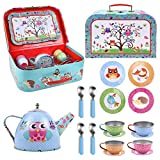 SOKA® Animal Design Metal Tea Set & Carry Case Toy for Kids - 18 Pcs Illustrated Colourful Design Toy Tea Set for Children Role Play