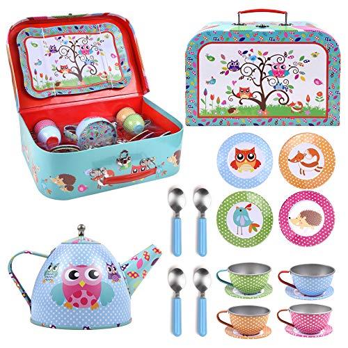 SOKA® Animal Design Metal Tea Set & Carry Case Toy for Kids - 18 Pcs Illustrated Colourful Design Toy Tea Set for Children Role Play