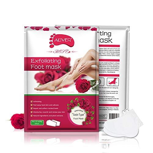 Foot Peel Mask 3 Pack, Soft Foot Exfliating Mask, Nature Peeling Callus, Feet Mask for Dry Skin Moisturizer, Repair Rough Heels for Men & Women (Rose)