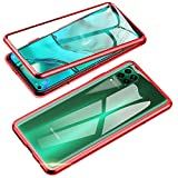 Jonwelsy Funda para Huawei P40 Lite, 360 Grados Delantera y Trasera de Transparente Vidrio Templado Case Cover, Fuerte Tecnología de Adsorción Magnética Metal Bumper Cubierta para P40 Lite (Rojo)