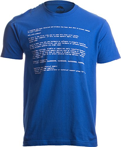 BLUE SCREEN OF DEATH Adult Unisex T-shirt / Geeky Windows Error Nerd Computer Tee Shirt XL