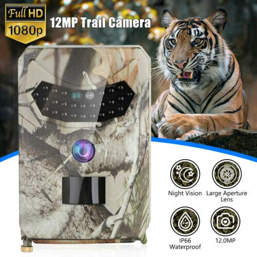 Rabusion Electronics For Trail Camera 12MP Image 1080P HD Video IP66 Waterproof 120° Detection Rang Wildlife Reconnaissance Infrared Night Vision Camera