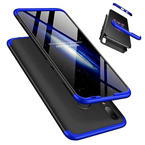 Funda Huawei Honor 10 Lite/P Smart 2019 360°Caja Caso + Vidrio Templado Laixin 3 in 1 Carcasa Todo Incluido Anti-Scratch Protectora de teléfono Case Cover (Azul Negro)