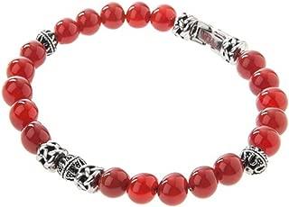 Blackjack Genuine Red Jasper Stainless Steel Bead Bracelet