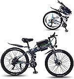 Bicicleta electrica Bicicleta eléctrica de montaña eléctrica plegable con 26 'Material súper ligero de acero altamente ligero, batería de litio con motor 350W y engranajes de velocidad de 21 velocidad