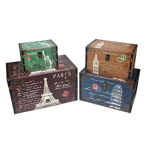 "Northlight Set of 4 Vintage-Style Travel Themed Wooden Boxes 23.5"" Decorative Storage, Multicolored"