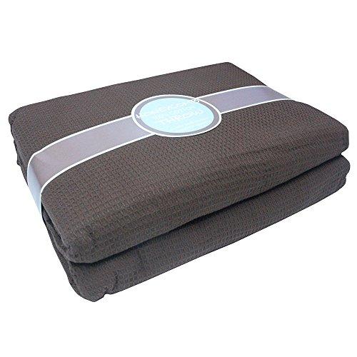 Tony's Textiles Couvre-lit/jeté de canapé - Tissu Relief Style nid d'abeilles - 100% Coton - Marron Chocolat - 178 x 254 cm