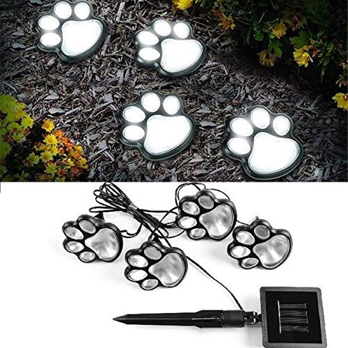 SLRMKK Solar Outdoor String Lights, 4 Pcs Solar Garden Lights Paw Print Dog Paw Print Lights Garden Waterproof for Lawn (Warm White)