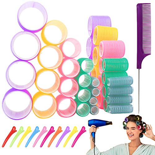 Hair Rollers Set, Self Grip Jumbo Hair Rollers Curlers,Salon Hair Dressing 2.5 Inch Rollers for Hair DIY, Curly Hairstyle Tools for Women, Multicolor 5 Size 40 Packs (66mm 54mm 44mm 32mm 25mm 40Pack)