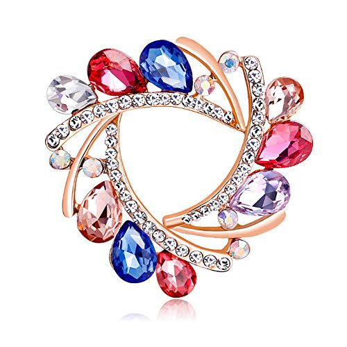 GLJIJID Lapel Pin Badge Coat Suit Brooch, Flower Alloy Inlaid Artificial Diamond 丨 Blue red gem for DIY Wedding Bouquets Kit