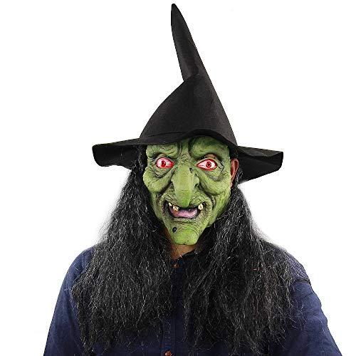 XIAMAZ heks masker met hoed haarkostuum groen theaterkwaliteit make-up masker beangstigend Halloween masker kostuum angstigend clown masker