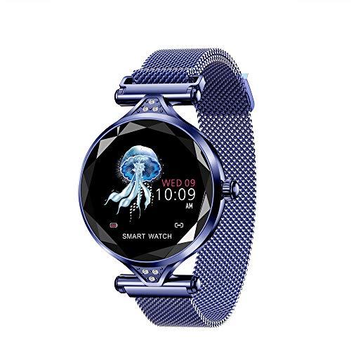 Damen Fitness Tracker, Herzfrequenz Fitness Armband Smart Watch Wasserdicht IP67 Aktivität Tracker Blutdruck Smart Armband Mit Stoppuhr Sport GPS Schrittzähler Schritt Kalorienzähler (Blau)
